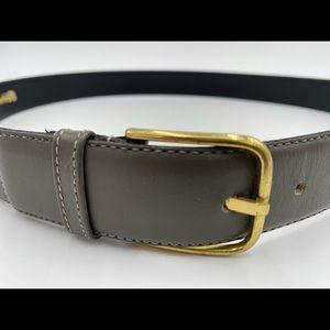 Men's COACH Grey Leather Belt - Size 34